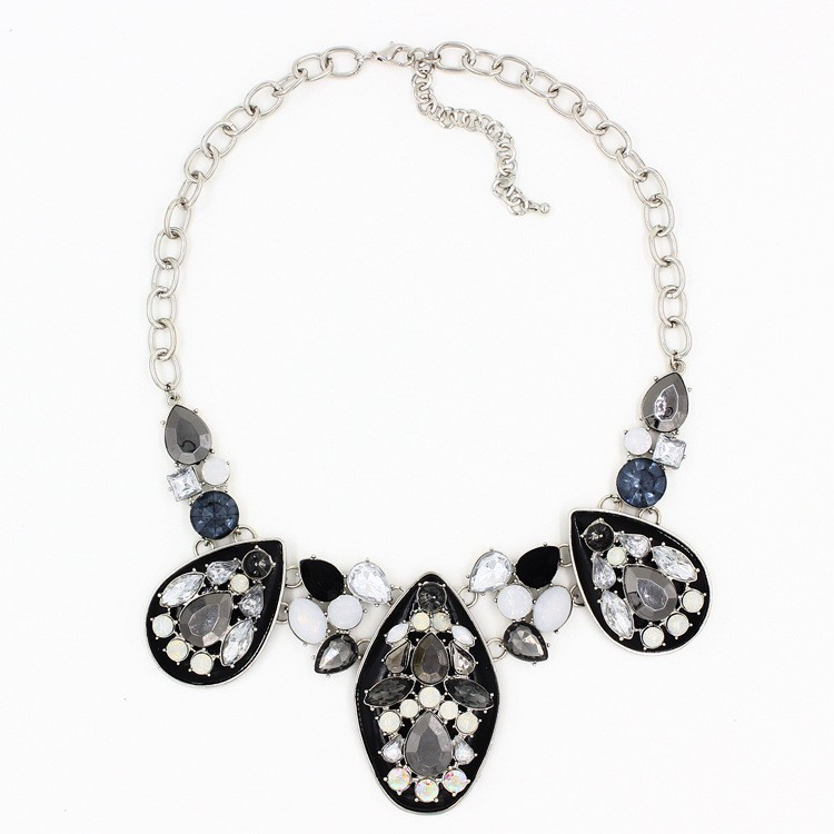 Stone flower shape jewellery necklace mothers day gifts cheap silver jewelry