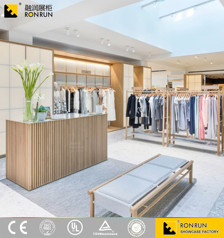 Modern style clothes display rack garment shop interior design