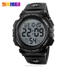 Top quality hot selling skmei 1258 black Homme Montre Manuel plastic sport 50m waterproof watch with Alarm