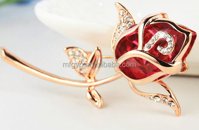 promotional gift expert factory custom red rose flower shape badge with diamond