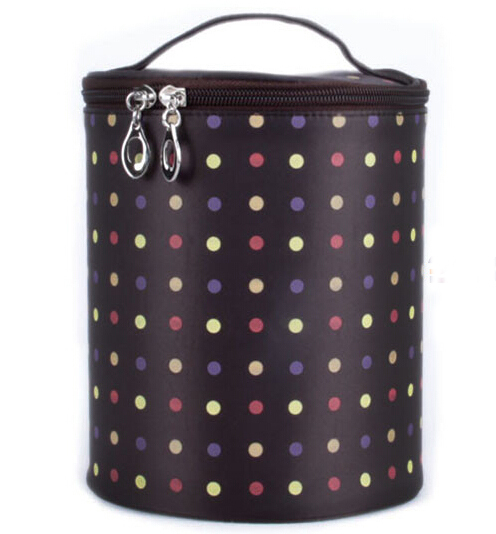 Red Polka Dot Cylinder Cosmetic Bag Gift Bag