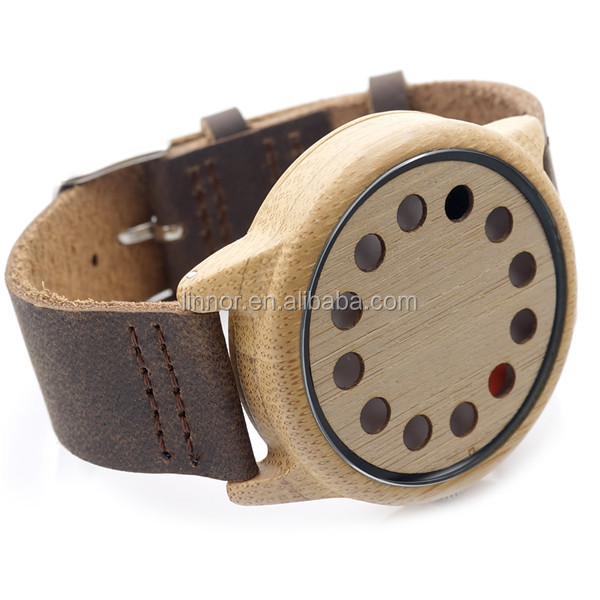 Factory Price Neutral Packing Wooden Watch 12 holes Deep Brown Genuine Leather Band Wood Wrist Watch
