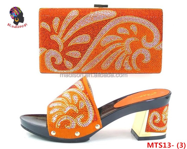 Gzmadison High quality wholesale fashion evening shoes with stones matching bags for lady wedding/MTS13-3 Orange