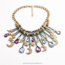 Pacific Bijoux Commerce Bead Crochet Necklace Chunky Bib Drop Charms Golded Pearls Statement Necklace N2509