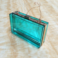 180x110x55mm Fancy Design Blue Clutch Bag