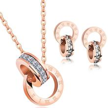 2019 Wholesale Bridal Women Costume 18k Rose Gold Necklace Stainless Steel Jewelry Set
