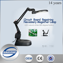 Multifuctional led magnifying lamp YG-138 industrial stand table magnifying glass with light head
