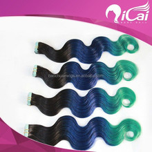 Top Quality Black Blue Green Color 8A Grade Cheap Tape Hair Extension
