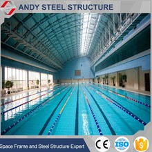 Fine quality cambered coated powder steel pipe truss building roof for swimming pool