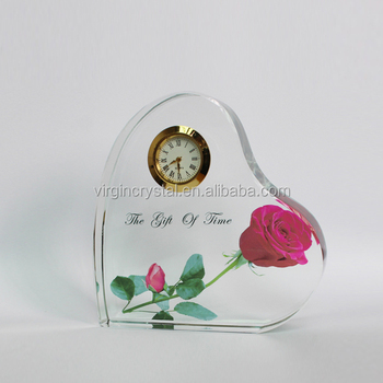 New heart shape crystal table clock as customized islamic wedding gift