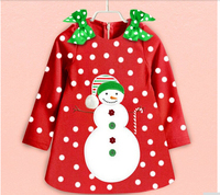 2015 New Christmas Modern Girls Dresses Long-Sleeve Winter Dot Dresses Kids Clothes Cotton Christmas Baby Girls Dresses