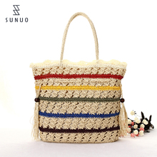 colorful strip paper straw handle tassel beach straw bag