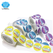 Custom Printed round Roll adhesive Peel Off Label, frozen food Labels For Food Containers, Roll Vinyl circle label sticker