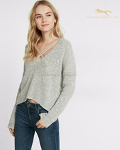 Autumn v-neck women pullover knitwear sweater