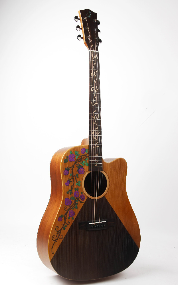 41 inch acoustic guitar with handrawing picture
