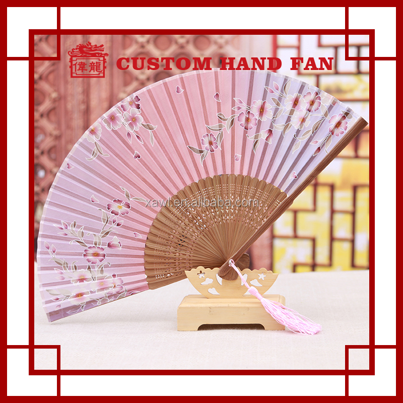 Wedding Gift Chinese Silk Bamboo Folding Hand Fans For GYS802-8