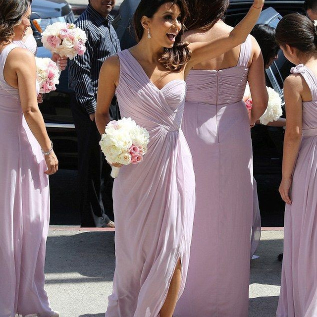 Customized Floor Length Women Formal Gown Front Slit One Shoulder Long Chiffon Lilac Bridesmaid Dress CWF2336