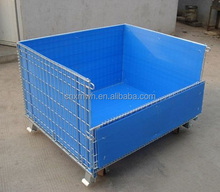 Mesh box wire cage metal bin storage container of metal pallet cage with pp hollow sheet