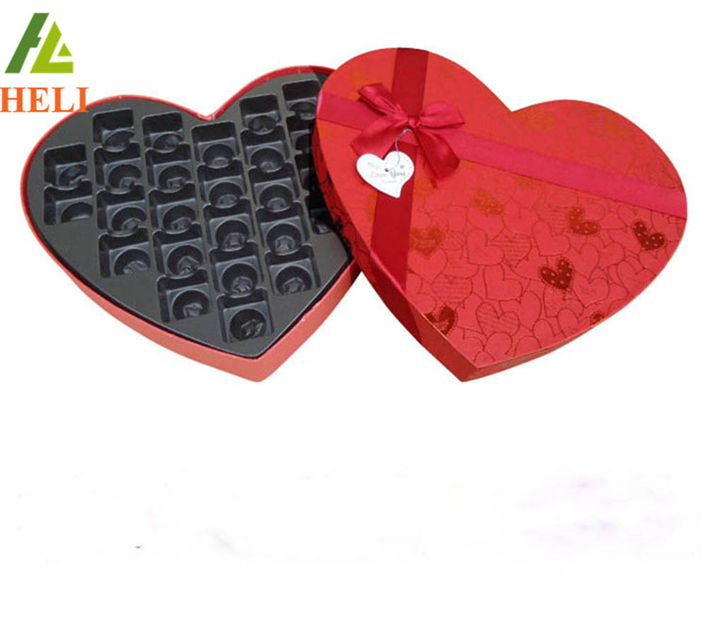 Heart shape plastic chocolate boxes for packaging insert box