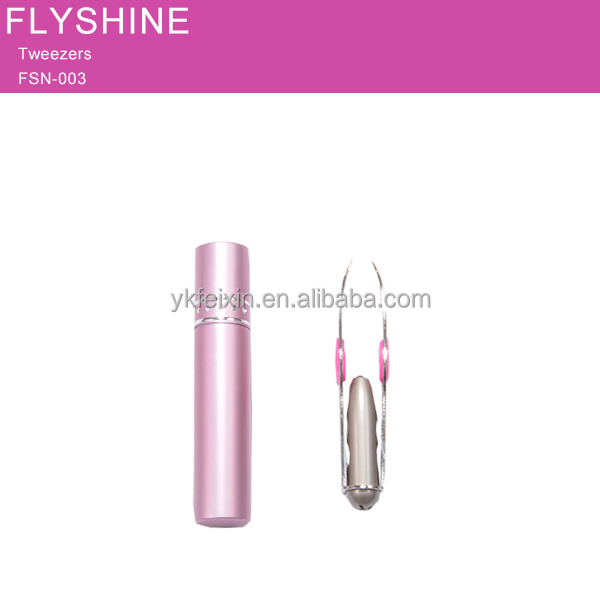 Women Eyebrow Battery LED lighted stainless steel Tweezers