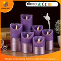 Shanhuang wholesale Purple half drawing Dia 7.5cm set led flame dancing candle