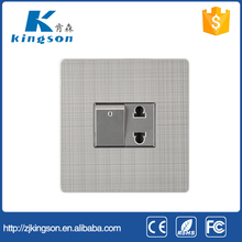 86*86 stainless steel 1 gang switch with one 16A socket