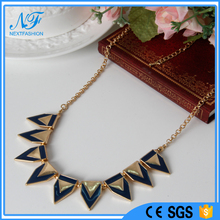 Fashion accessories jewelry gold&navy Nautical Triangle Short Collar Necklace