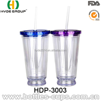 new design 16oz double wall clear led light up tumbler with straw