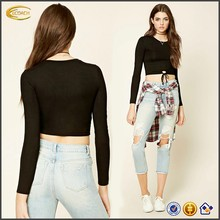 Ecoach Wholesale OEM Latest Design Women Long Sleeve Round Neck Circle Tie-Waist Cutout Blouse Casual Blank slight crop Top