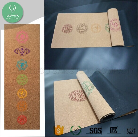 Pro custom private label sublimation digital printed eco nattural rubber cork yoga mats