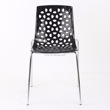 dining room plastic chair iron legs chromed