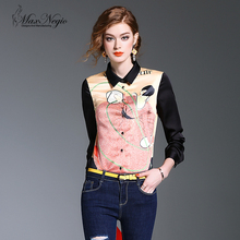 Maxnegio lady print new blouse fashion cutting blouse back neck designs