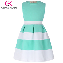 Grace Karin Children Kids Dress Sleeveless Round Neck Contrast Color Basic Girls Dress Names With Pictures CL008992-3