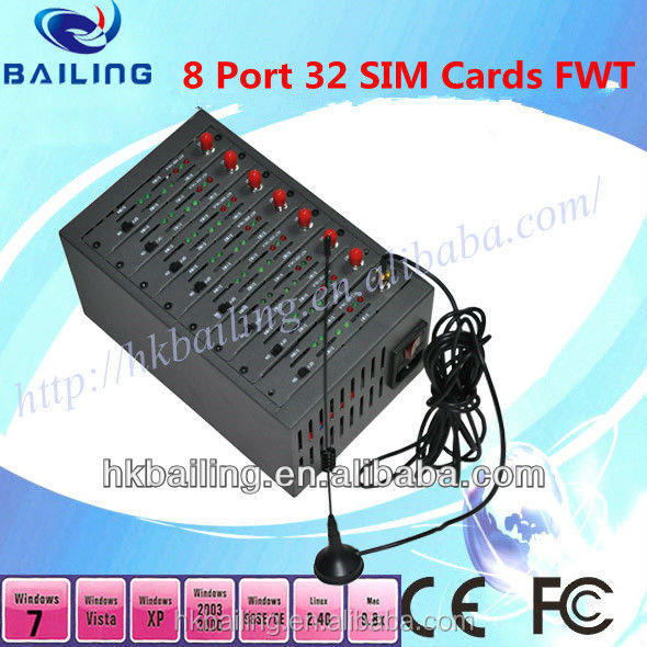 8 Port with 32 Sim Cards Modem Pool for pbx/billing machine/voip gsm gateway