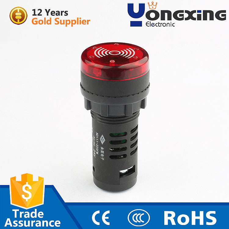 mini 220vac 230v red emergency flashy indicator light and high frequency discontinuous sound buzzer