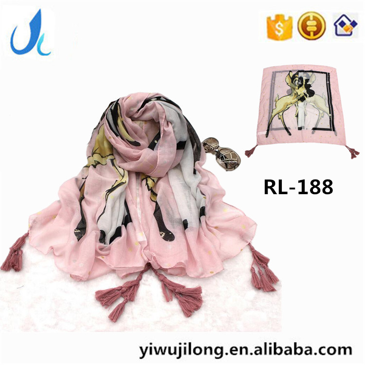 RL-188 Carton Deer Print scarf Young Lady Scarf Fashionable scarf factory wholesale