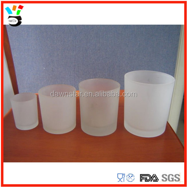 Different Size Available Custom Made Frosted Glass Candle Holder Cup, Candle Container