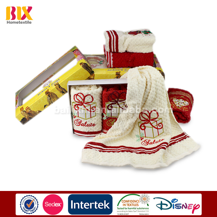 wholesale cheap 100%  cotton Christmas kitchen towel with embroidery logo
