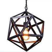 Vintage Loft Style Pendant Light Steel Polyhedron Ceiling Light Industiral Design Pendant Lamp
