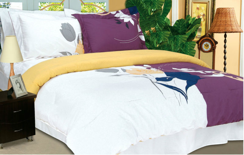 Ribbon Embroidery modern design bedding set for wedding