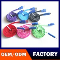 Hot sell Colorful Nylon Fabric Braided USB Cable for Smartphone Weave V8 charger cable