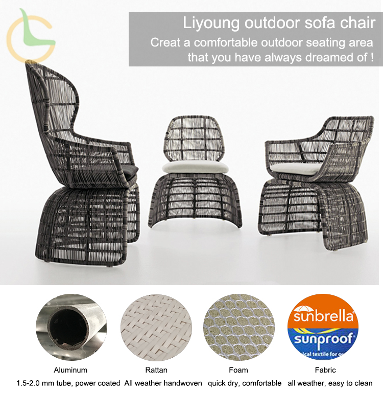 Liyoung all weather outdoor rattan premium sofas
