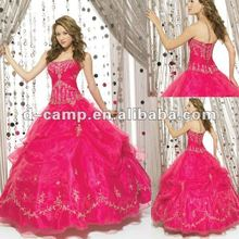 QU-122 Hot pink one piece elegant christmas girl party wear western dress