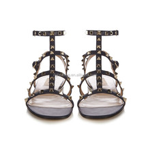 Summer Gladiator Flat Sandals Rivets Studded Ankle Strap Ladies Shoes