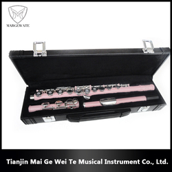 High Value 16 Holes C Tone Pink Flute Instruments, Professional Woodwind Music Instruments Flute Accessories