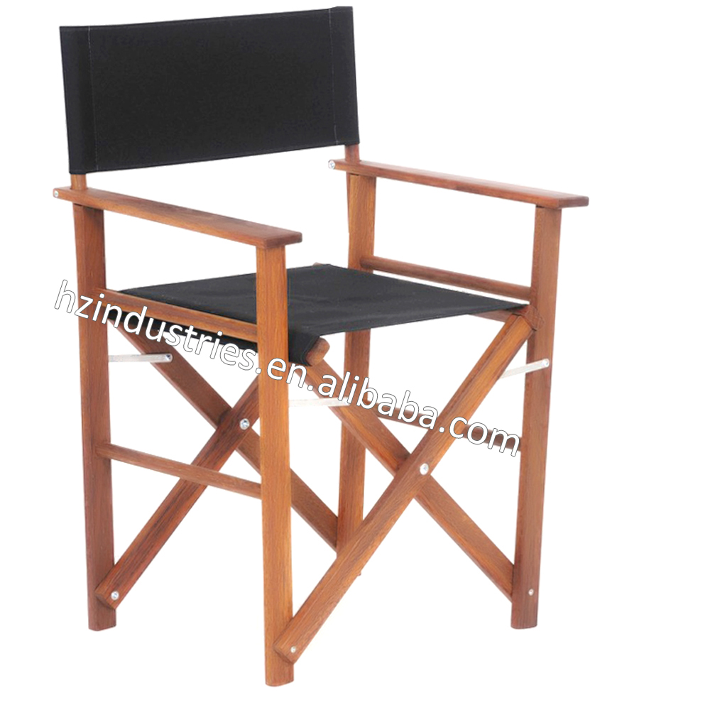 Outdoor slim folding wooden director chair