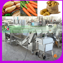 Best seller brush type potato washing peeling and cutting machine with lifter