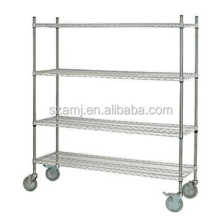 NSF approved 4 wheels easy moving chrome 304 stainless steel wire <strong>rack</strong>