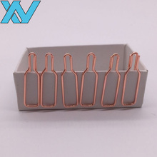hight quality mini shaped rose gold wine bottle paper clip