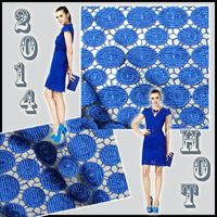2016 hot sale Wholesale Eco-friendly Royal blue 100%polyester guipure lace fabric for women dress